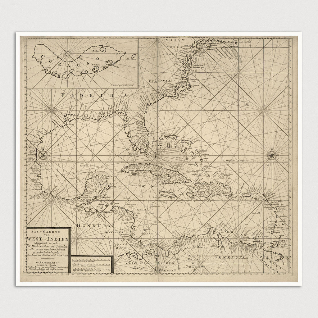 Caribbean, Central America and Southeast US Antique Map Print (c1705)