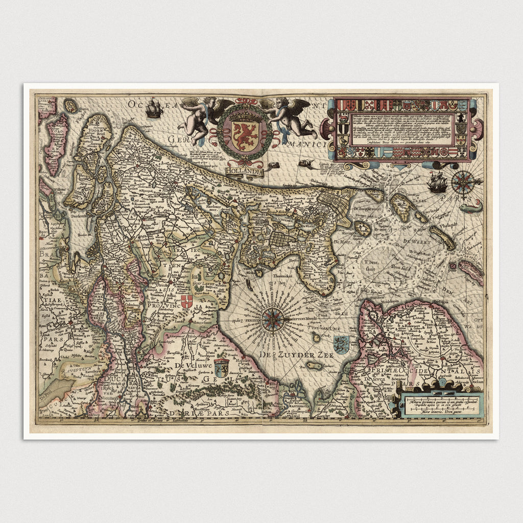 Netherlands Antique Map Print (1617)