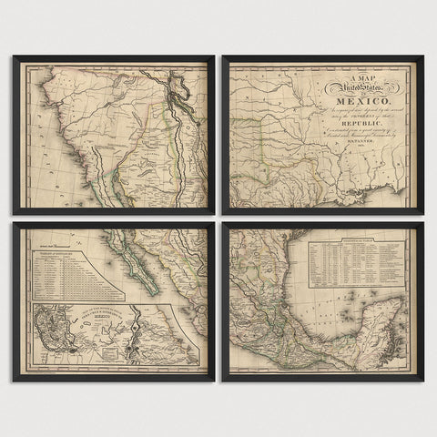 Mexico Antique Map Print Set (1826)