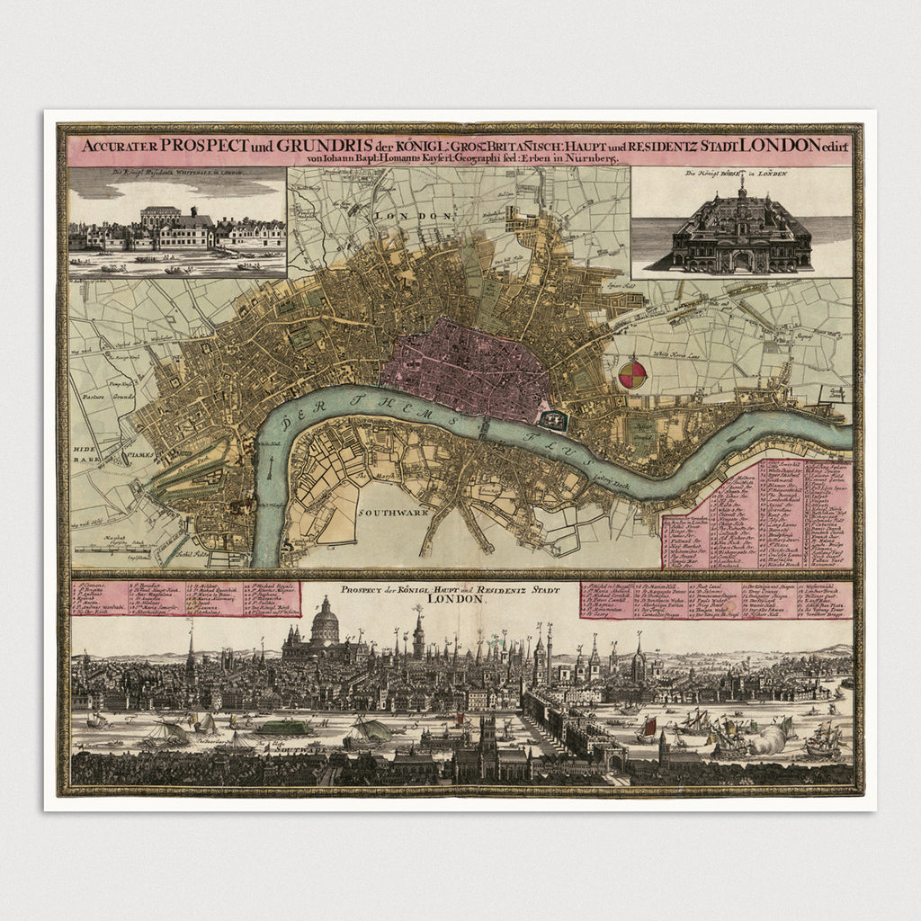 London Antique Map Print (c1750)