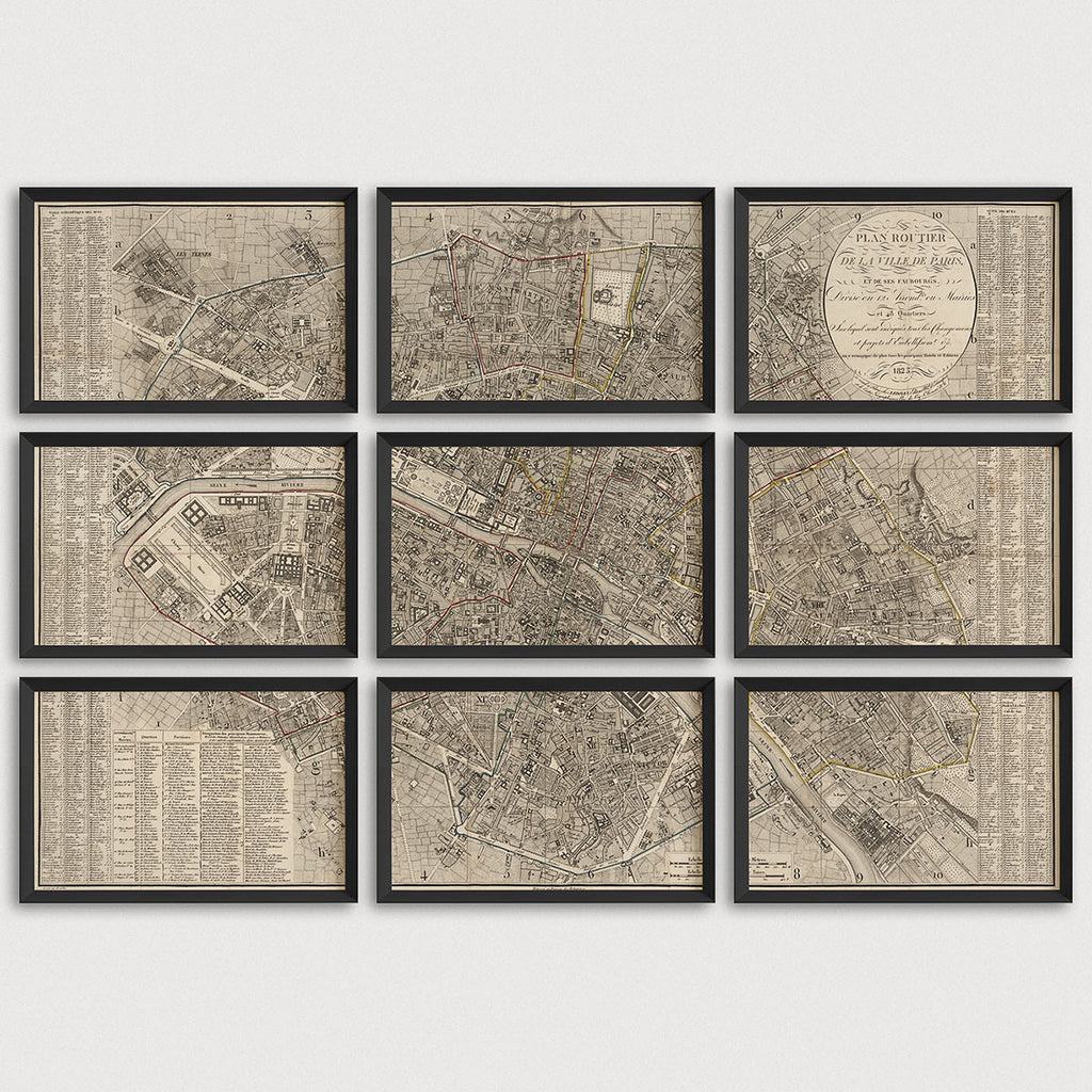 Paris Antique Map Print Set (1823)