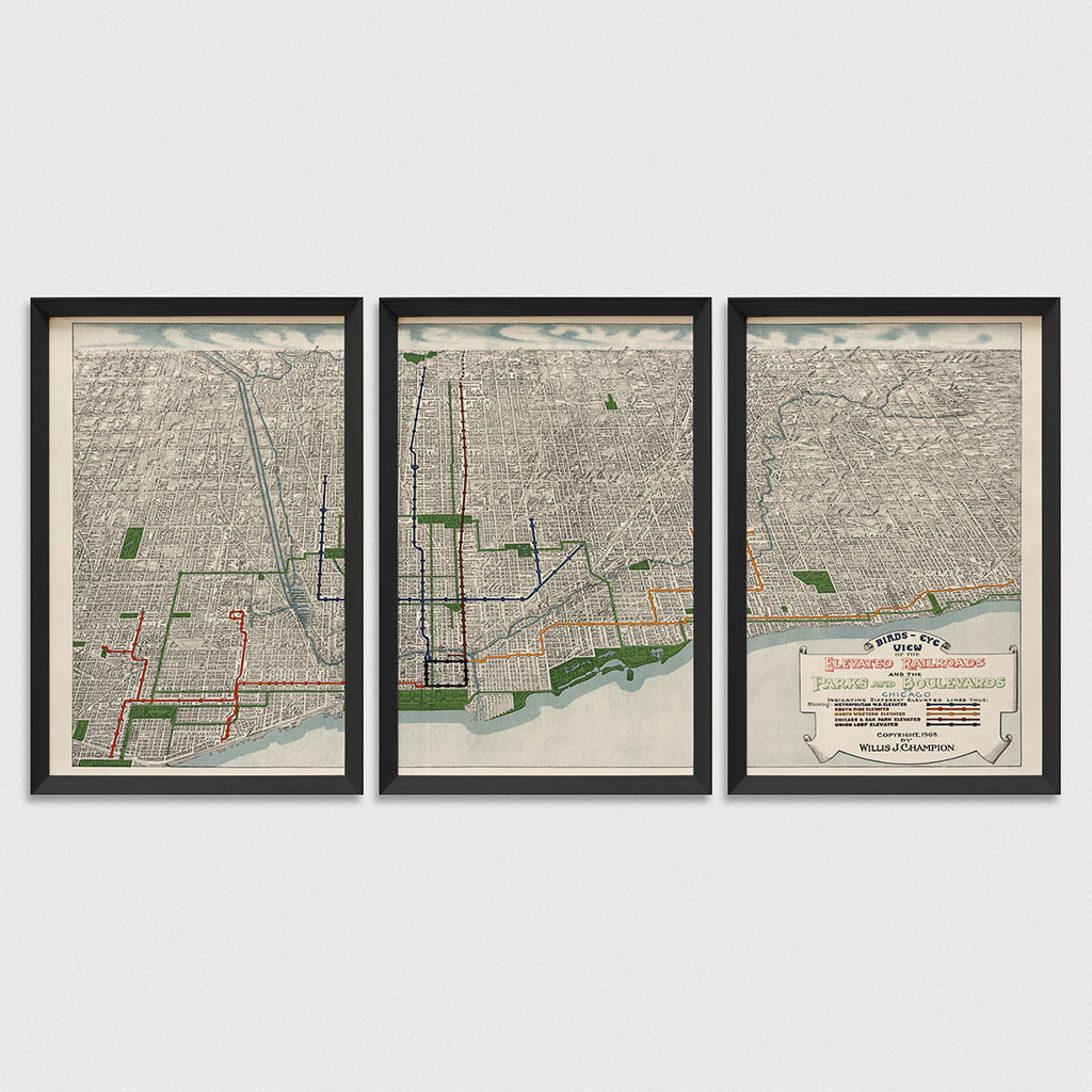 Chicago Antique Map Print Set (1908)