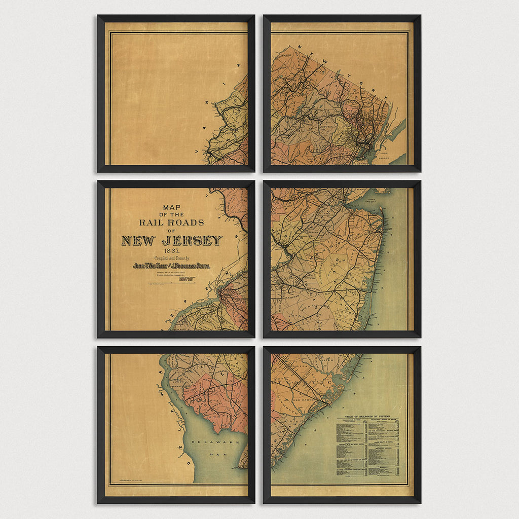 New Jersey Antique Map Print Set (1887)
