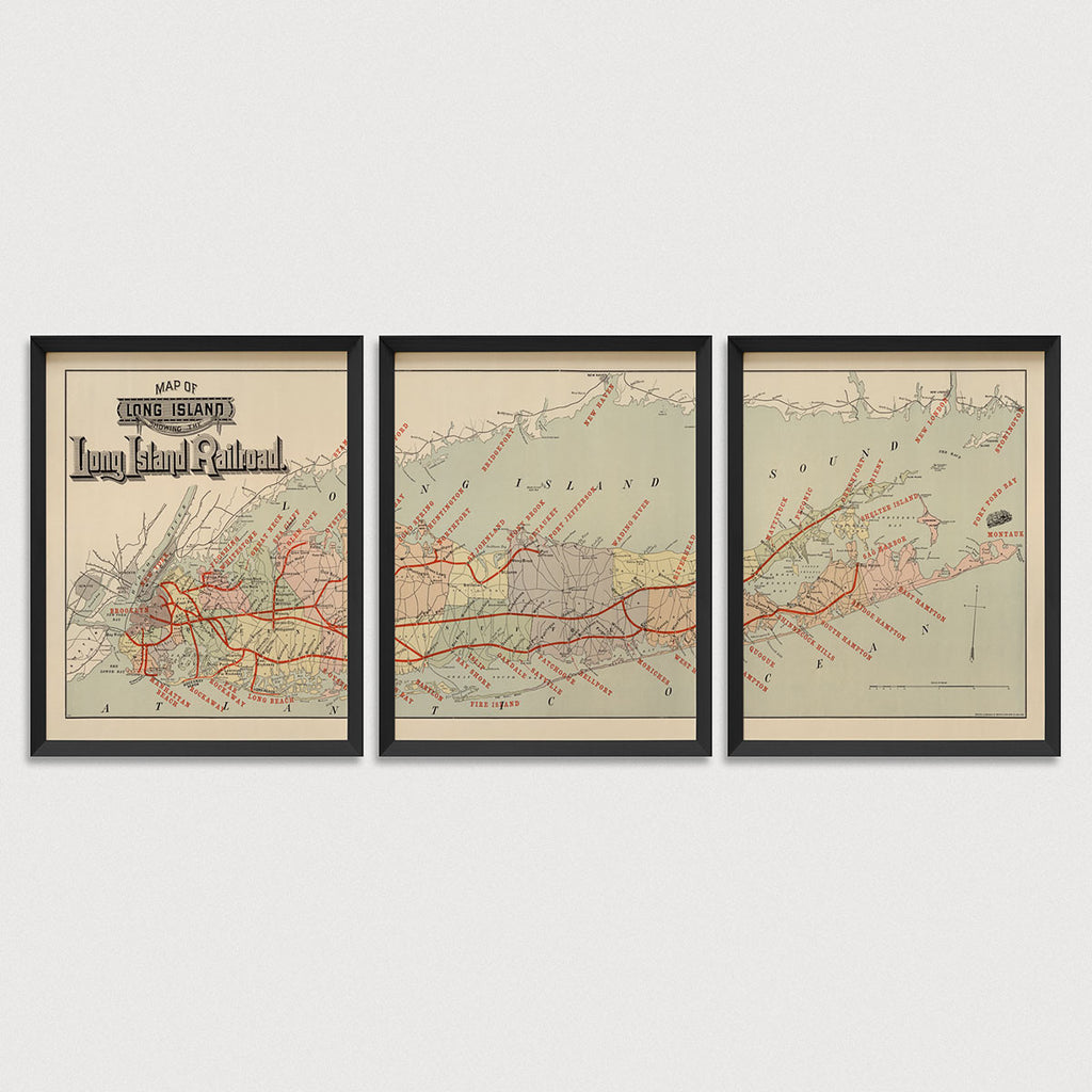 Long Island Railroad Antique Map Print Set (c1895)