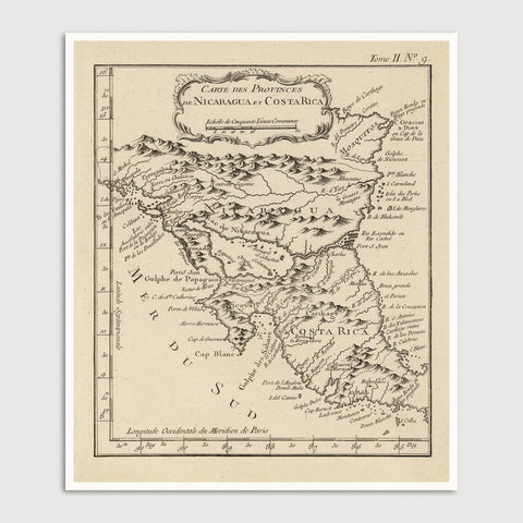 Costa Rica and Nicaragua Antique Map Print (1764)