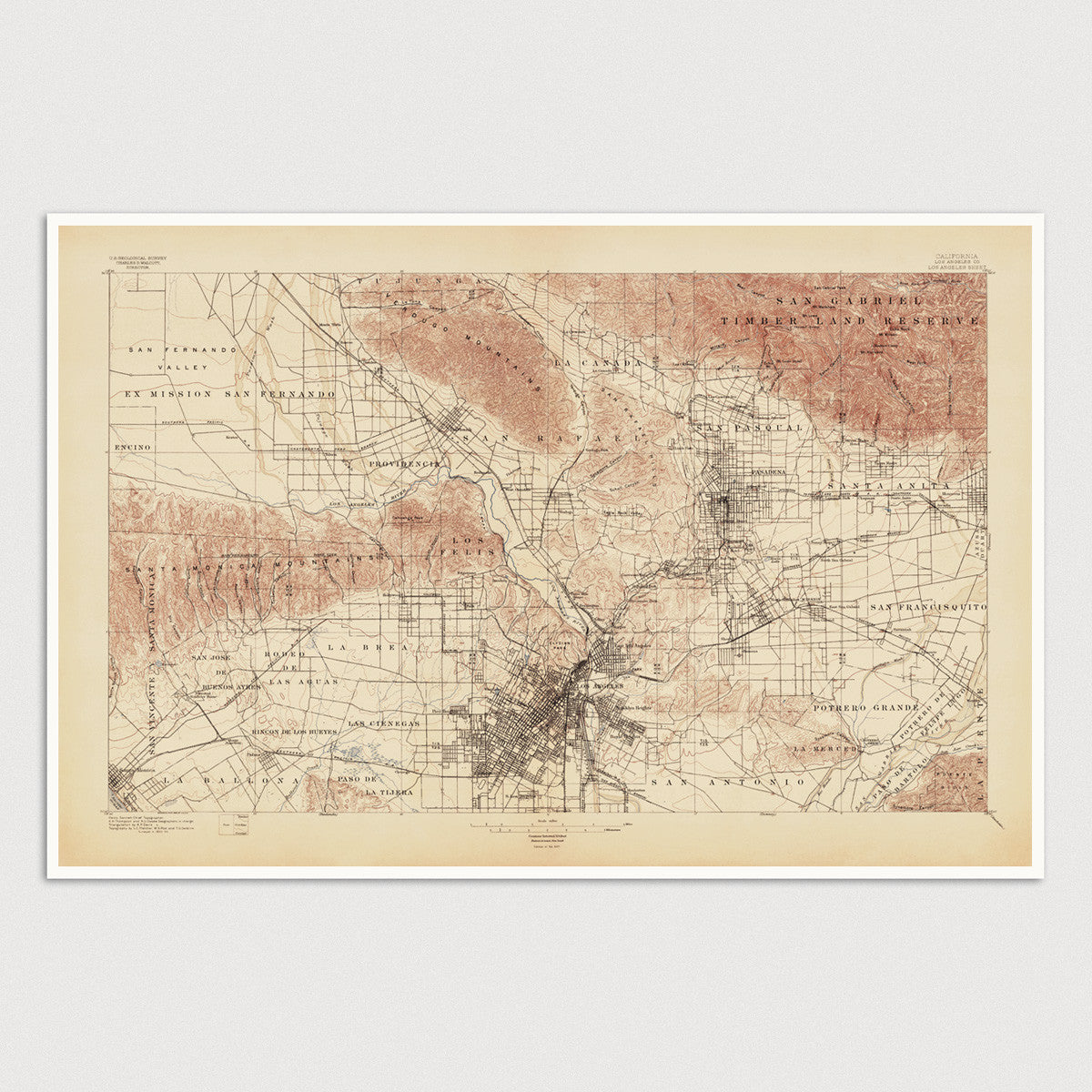 Usgs Topographic Map Of Los Angeles 1897 Blue Monocle