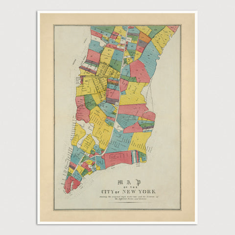 New York City Antique Map Print (1852)
