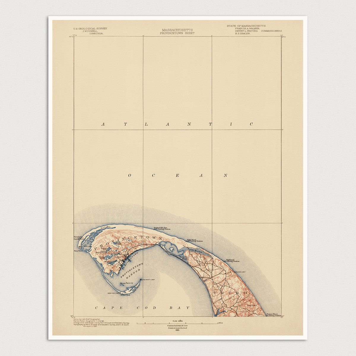Topographic Map Massachusetts.Usgs Topographic Map Of Cape Cod Massachusetts 1889 Blue Monocle
