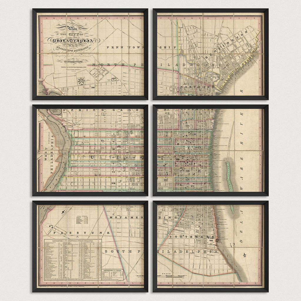 Philadelphia Antique Map Print Set (1830)