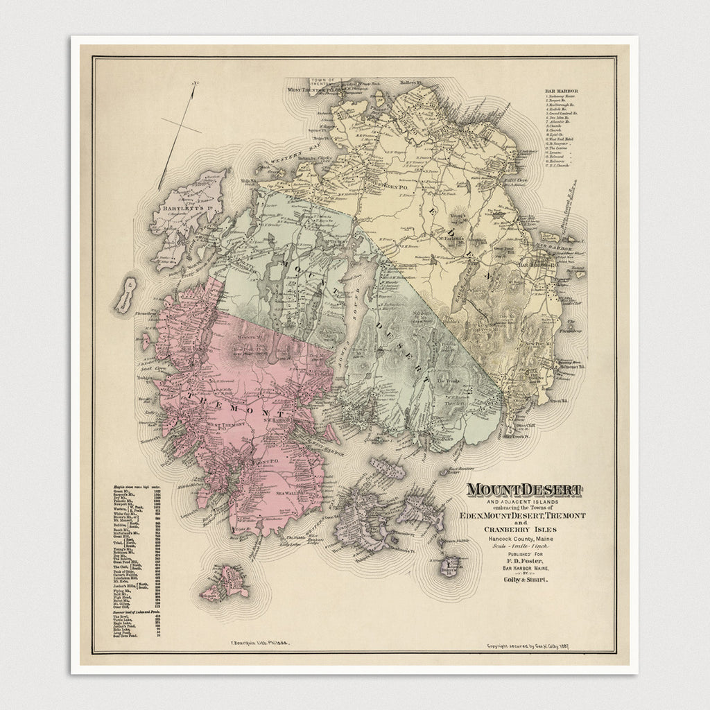 Mount Desert Island, Maine Antique Map Print (1887)
