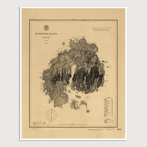 Mount Desert Island, Maine Antique Map Print (1875)