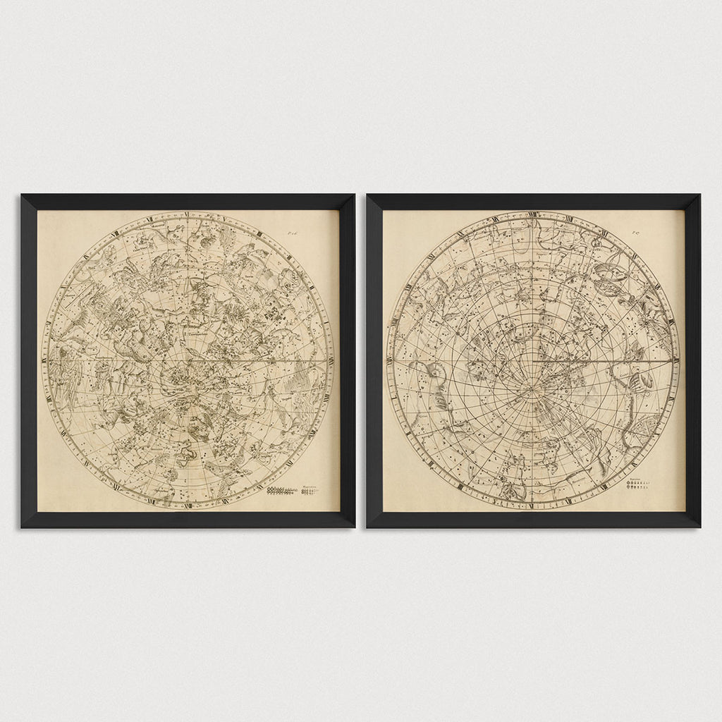 Constellations Antique Map Print Set (1729)