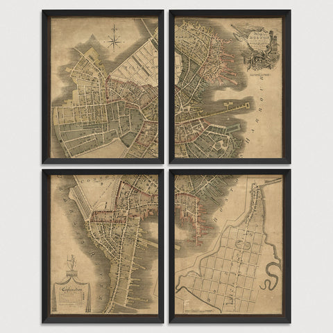 Boston Antique Map Print Set (1814)