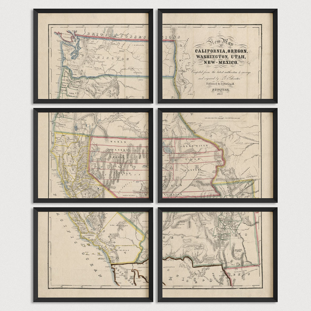 Western US Antique Map Print Set (1853)