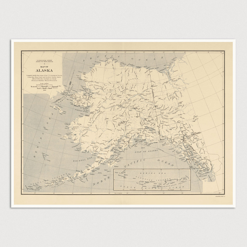 Alaska Antique Map Print (1909)