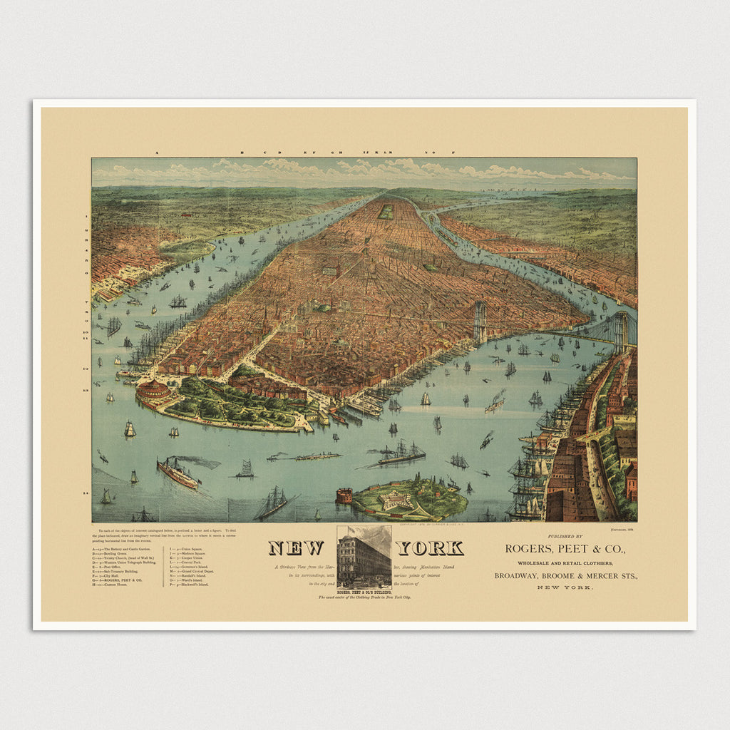 New York City Currier and Ives Antique Map Print (1879)