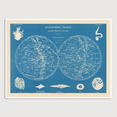 Antique Constellation Map Print (1886)