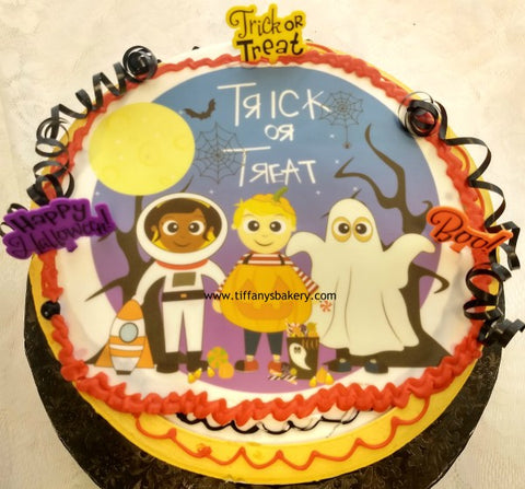 Halloween Edible Image Design on Round Cake
