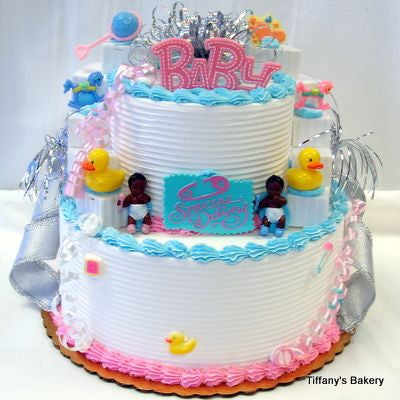 Baby Shower Celebration Tier Cake, Pink & Blue
