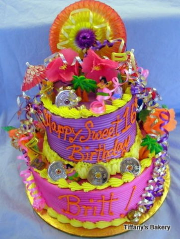 Tropical Party Celebration Tier Cake
