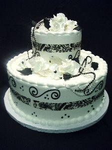 Black & White Ribbon Celebration Tier Cake