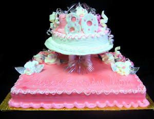 "Pink Surprise 1/2 Sheet Cake with 4""& 8"" Rounds"