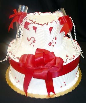 Red Bow with Heart Celebration Cake