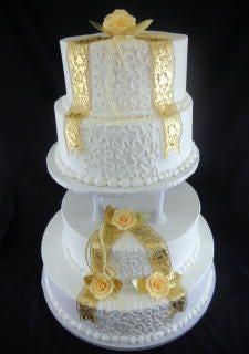 Ribbons and Lace Classic Gold Wedding Cake