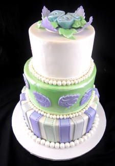 Blue and Green Fondant Stripes Wedding Cake