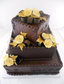 Gold Roses on Chocolate Premier Wedding Cake