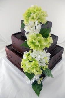 Hydrangeas on Chocolate Frosted Premier Wedding Cake
