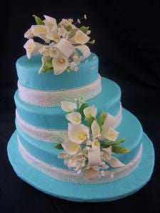 Blue Oval Calla Lily Rolled Fondant Wedding Cake