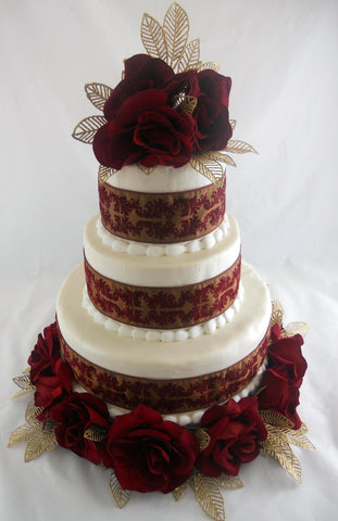Black Magic Rose Fondant Wedding Cake