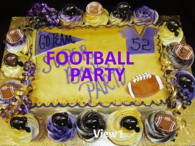 Baltimore Ravens Sheet Cake with Cupcakes