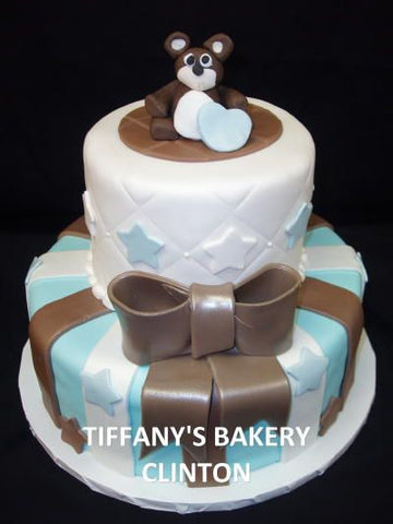 Blue Stars and Stripes Rolled Fondant Celebration Tier Cake