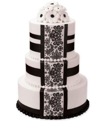 Black Blossom Panel Premier Wedding Cake