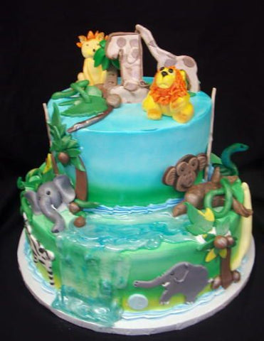 Wildlife Jungle Jam Celebration Tier Cake