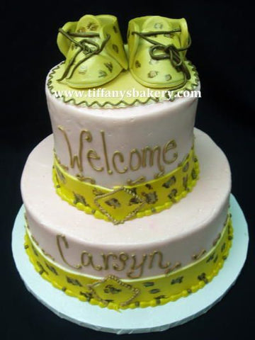 Cheetah Print Baby Booties on Celebration Tier Cake