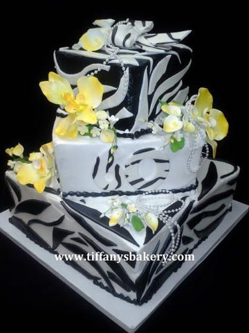 Zebra Stripes with Orchids Celebration Tier Cake