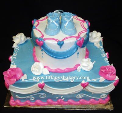 Pink and Blue Stacked Cake