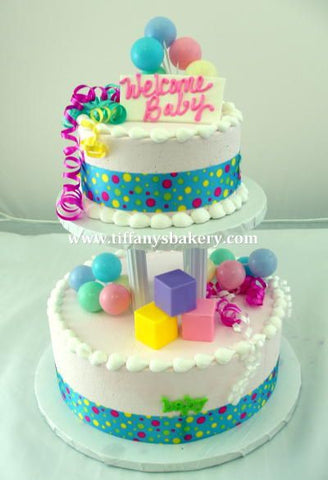 Baby Blocks Celebration Tier with Multi Ribbon