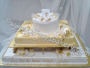 Eight Inch Round Cake with 1/2 and full Sheets