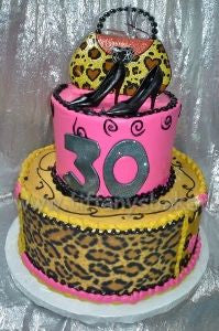 Cheetah Heels and Purse Celebration Cake