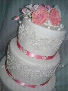 Delicate Lace Fondant Wedding Cake