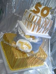 Golden Zebra Celebration Tier Cake