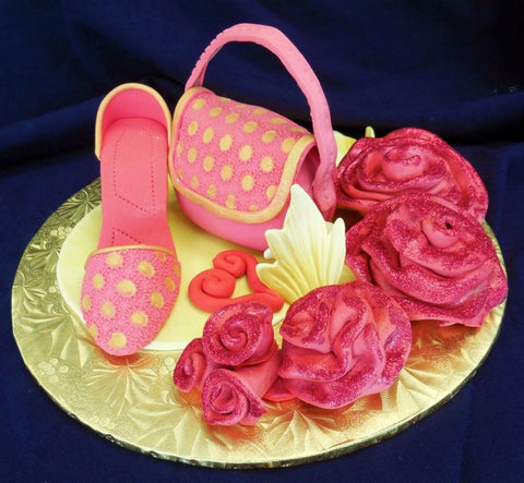 Mini Purse and Shoe with Ribbon Roses Fondant Accent