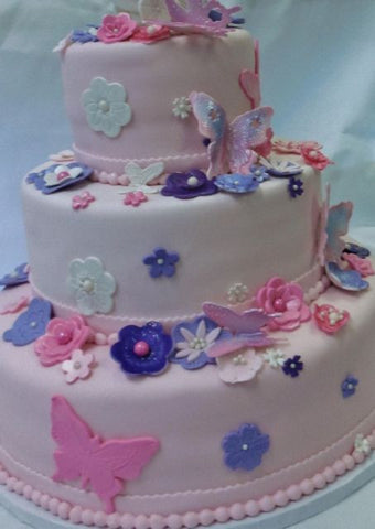 Butterflies on Pink Fondant Wedding Cake
