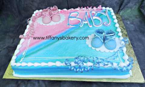 Pink and Blue Booties Sheet Cake