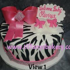 Zebra Round with Bow and Booties