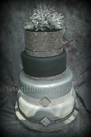 Black and Silver Marble Fondant Wedding Cake
